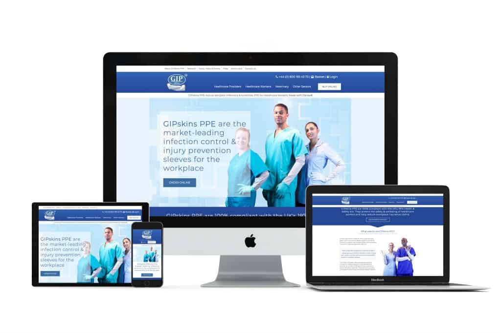 professional website design for medical and ppe company in nottingham
