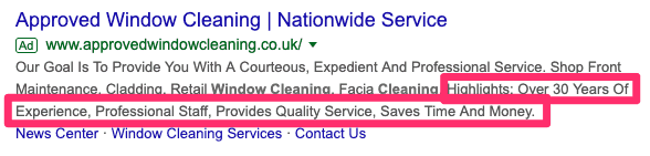 structured snippets as ad extensions