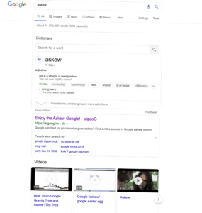 askew will tilt your google search! cool!