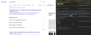 text adventure is the free google game you can play in your Google chrome browser