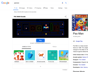 pacman, what a classic. play this game in the google search results