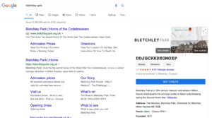 Bletchley Park is infamous for it's code breakers. Google pays tribute to this with their updated google my business listing.